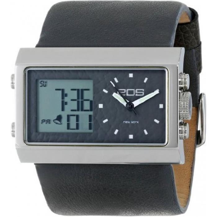 eos 202sgry montre mixte analogique digitale bracelet cuir achat vente montre cdiscount. Black Bedroom Furniture Sets. Home Design Ideas