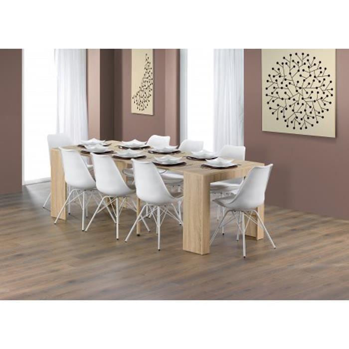 Table de salle manger coloris ch ne en panneau de for Table de salle a manger 2m50
