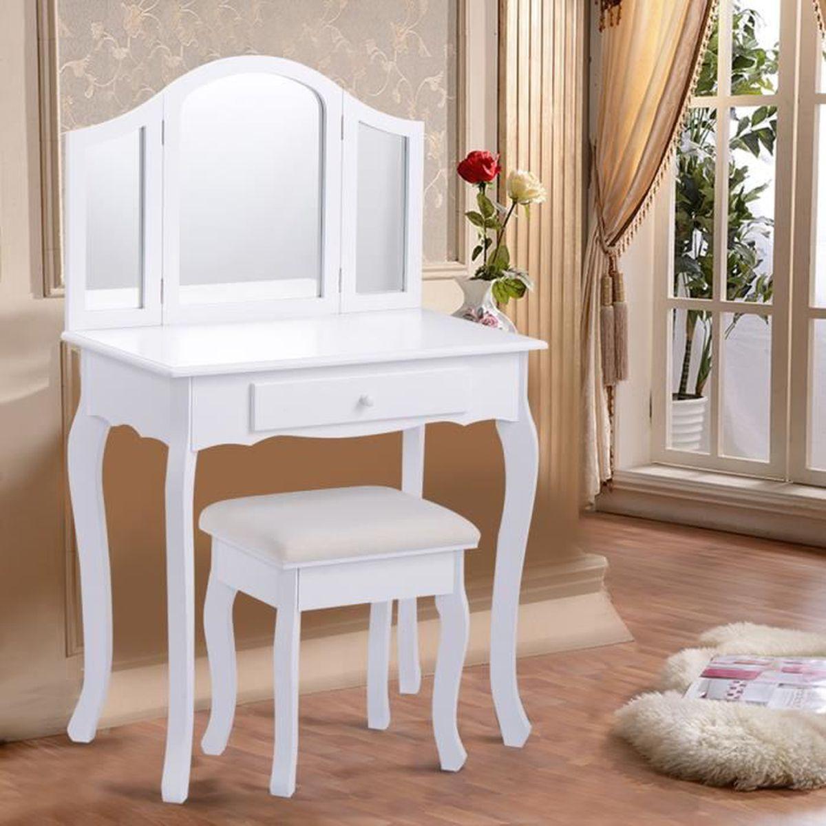 Coiffeuse tabouret avec miroir table de maquillage for Meuble pour petite chambre