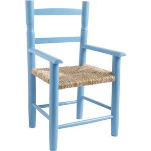 CHAISE Chaise enfant en hêtre laqué bleu ciel avec siè…