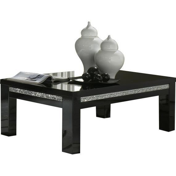 table basse carr e noire laqu e garnie de cristaux achat. Black Bedroom Furniture Sets. Home Design Ideas