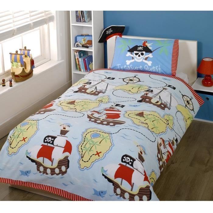 parure de lit housse de couette double pirate achat vente housse de couette cdiscount. Black Bedroom Furniture Sets. Home Design Ideas