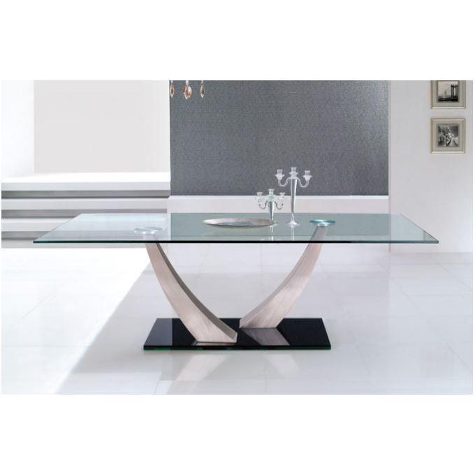 Table repas en verre tremp kori achat vente table - Table repas en verre ...