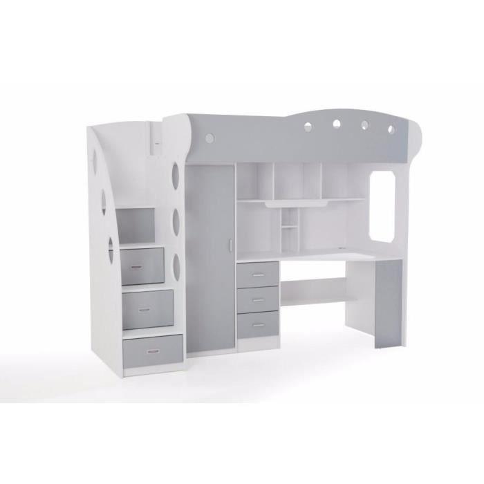 Lit mezzanine combi combin bureau penderie blanche et grise achat vente - Lit combine mezzanine ...