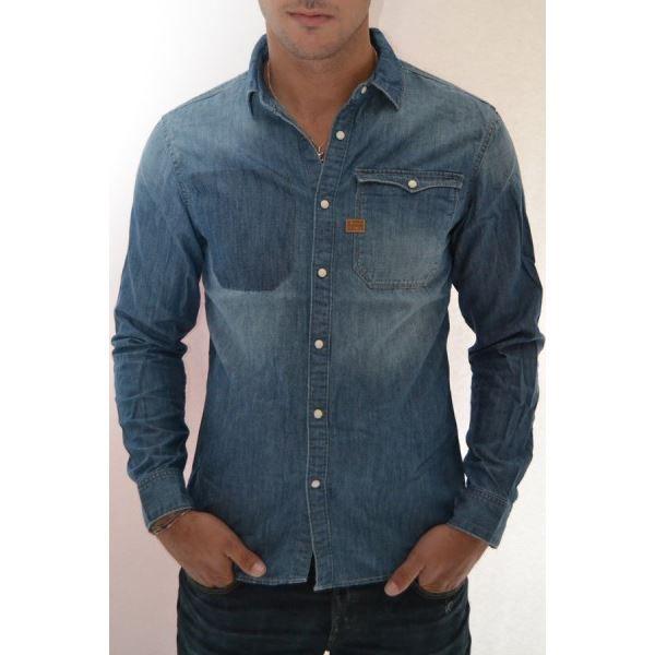 chemise en jeans g star hunter v bleu achat vente. Black Bedroom Furniture Sets. Home Design Ideas