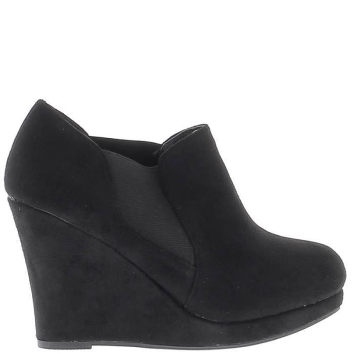 low boots noires talon compens de 10cm look daim noir. Black Bedroom Furniture Sets. Home Design Ideas