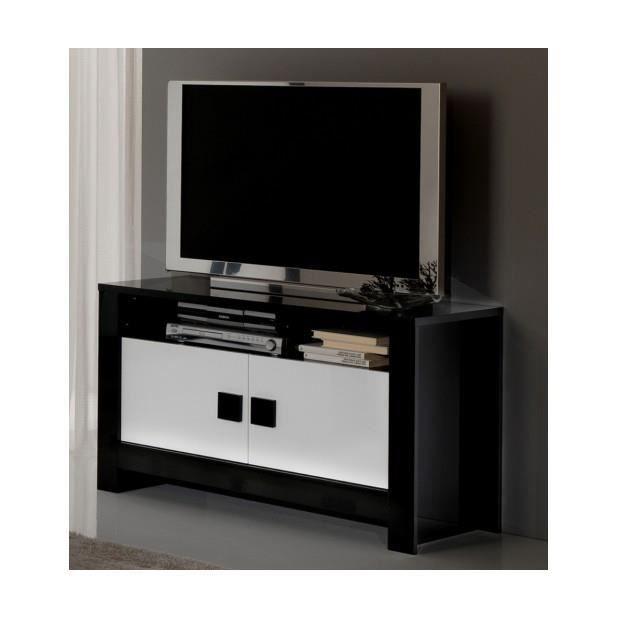 Meuble t l l ments noir blanc achat vente meuble tv for Meuble tele noir et blanc