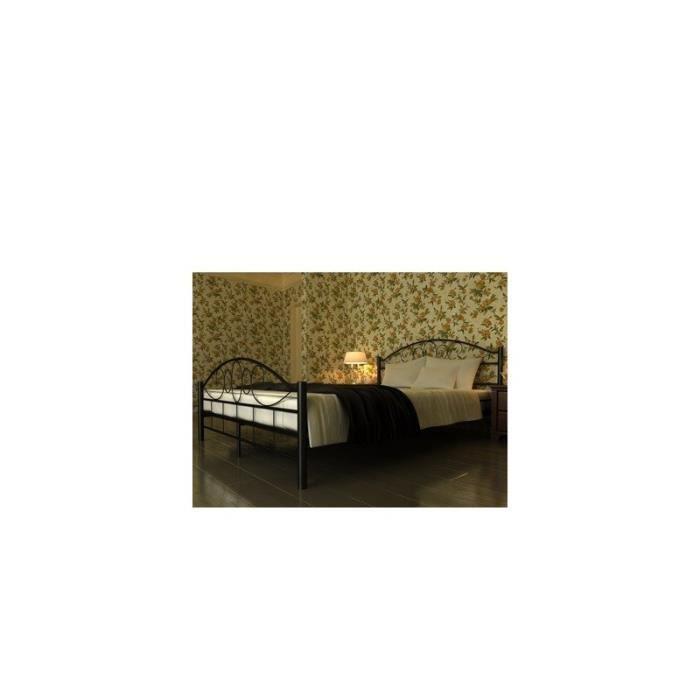 lit adulte en m tal noir romantique 140x200 cm achat vente structure de lit lit adulte en. Black Bedroom Furniture Sets. Home Design Ideas