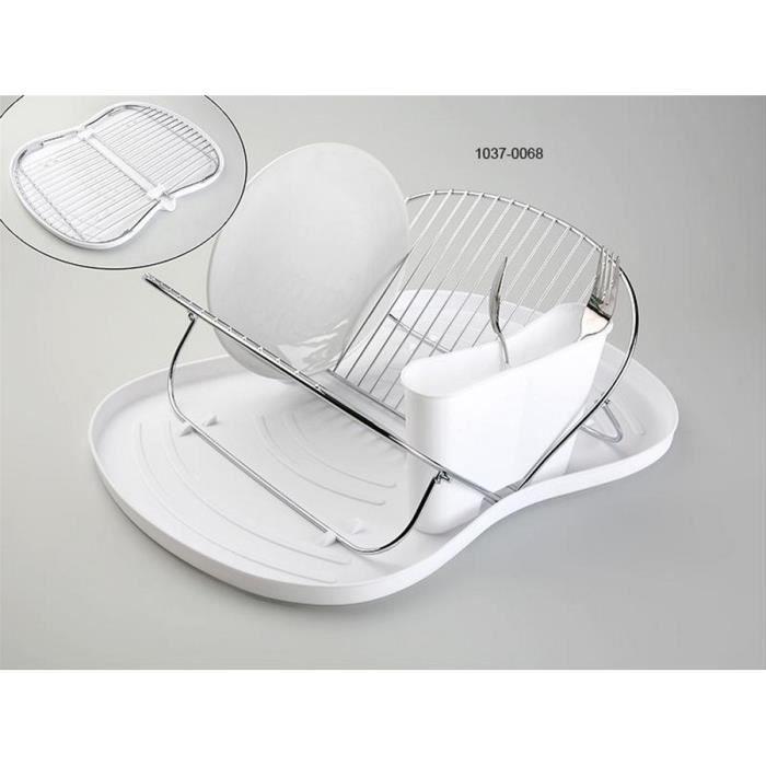 egouttoir vaisselle pliable plateau blanc panier inox versa achat vente egouttoir. Black Bedroom Furniture Sets. Home Design Ideas