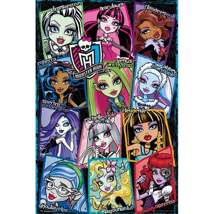 Poster monster high 12 personnages achat vente affiche - Personnage monster high ...