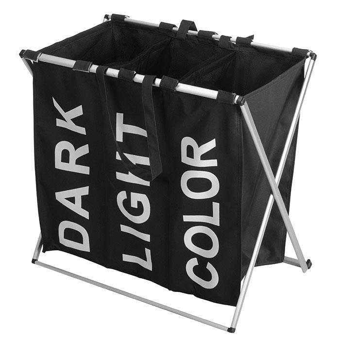 panier linge triple trois compartiments pliable. Black Bedroom Furniture Sets. Home Design Ideas