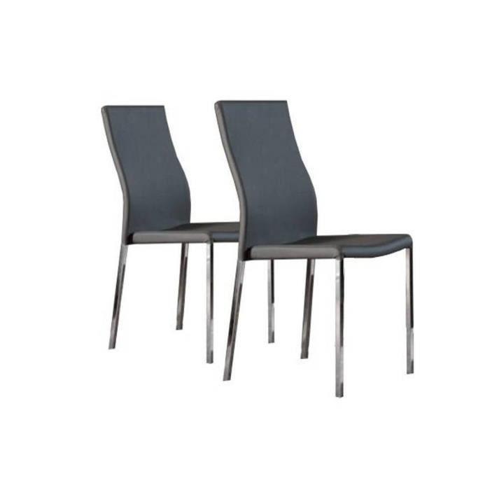 Lot de 2 chaises design hellen en simili cuir g achat for Lot de 6 chaises design