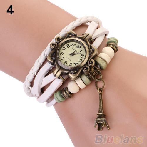 Fashion femme montre la tour eiffel d coration cuir quartz achat vente montre fashion femme for Montre decoration