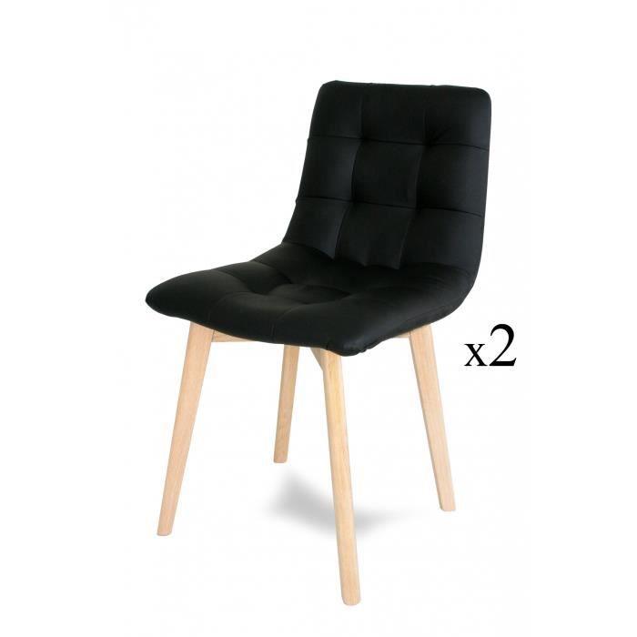 Lot de 2 chaises scandinave noir jess achat vente for Chaise noir scandinave