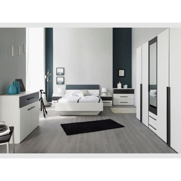 Chambre coucher 4 pi ces alix d cor blanc gris achat Deco chambre gris et blanc