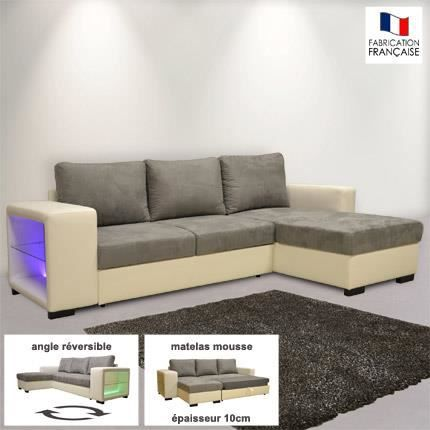 canap d 39 angle r versible convertible pu micro avec leds. Black Bedroom Furniture Sets. Home Design Ideas