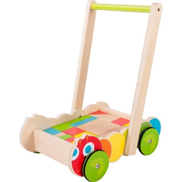 chariot de marche pousseur en bois avec cube achat vente porteur pousseur cdiscount. Black Bedroom Furniture Sets. Home Design Ideas