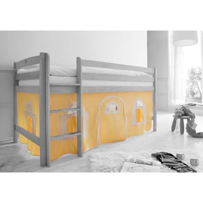 Ensemble de 2 rideaux tissus pour lit mezzanine achat vente rideau v - Rideau pour lit superpose ...