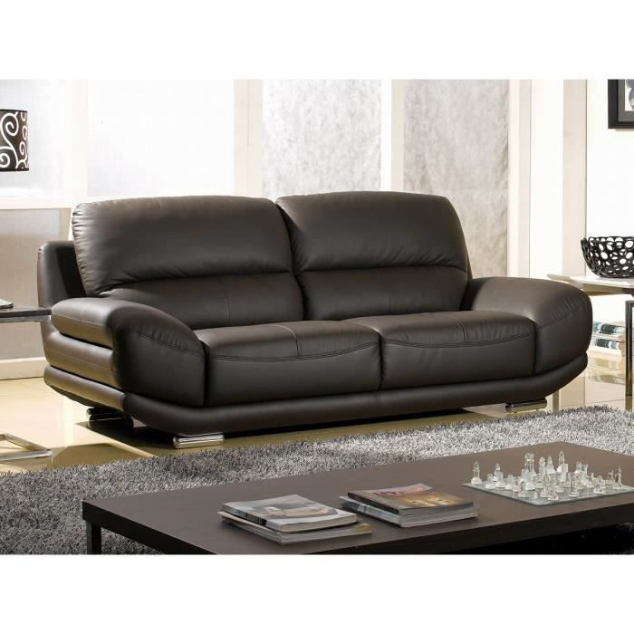 Canap barcelona 3 places cuir chocolat design achat for Canape barcelona