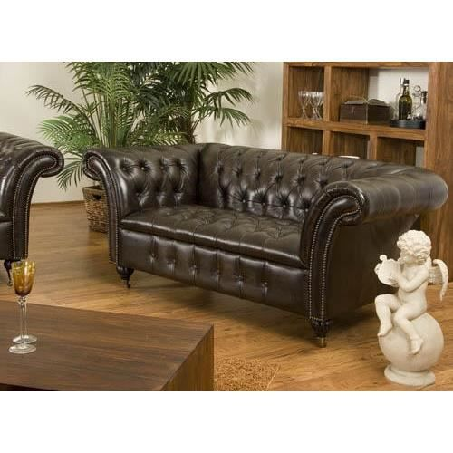Canap chesterfield ii 2 places en cuir v ritable brun for Canape chesterfield 2 places cuir