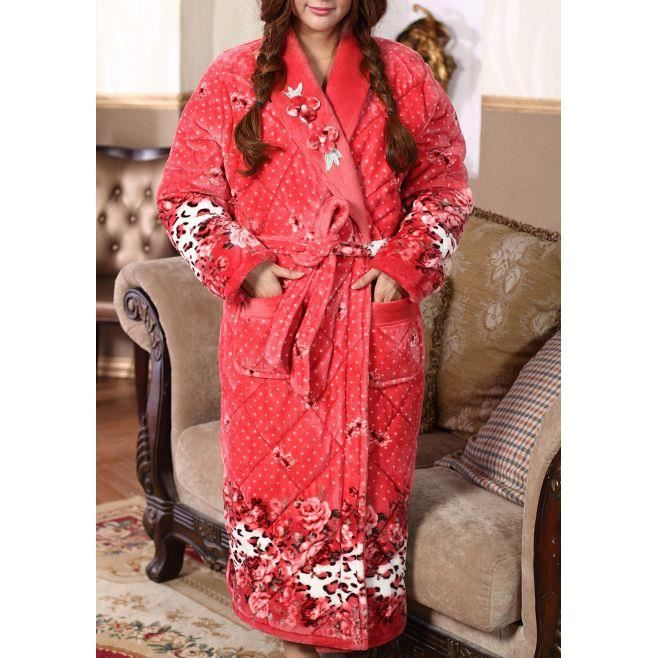 robe de chambre femme matelass e rouge roses achat vente robe de chambre cdiscount. Black Bedroom Furniture Sets. Home Design Ideas