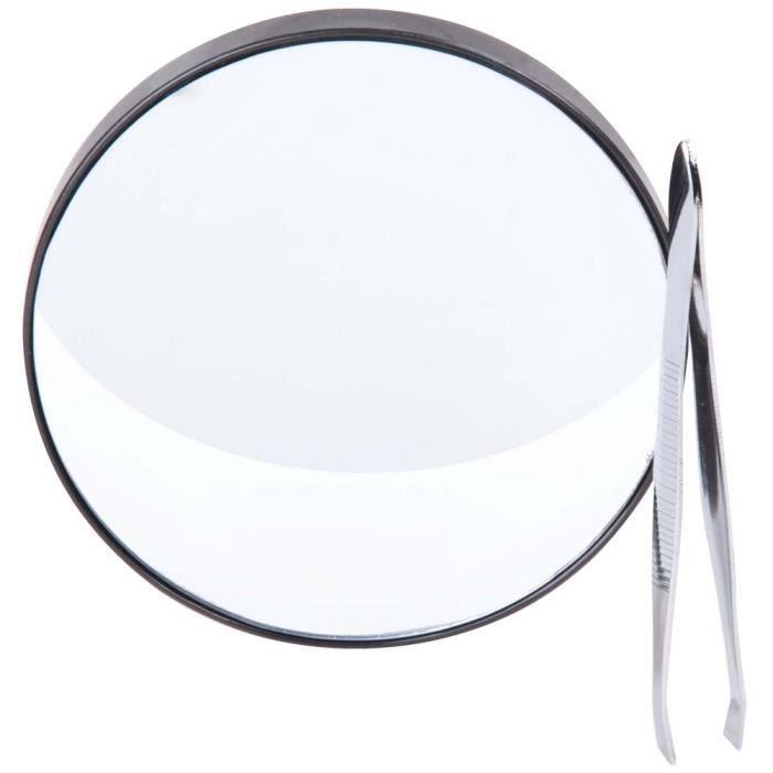 Set kit beaut miroir grossissant loupe x15 fixation ventouse avec pince epiler achat for Miroir loupe