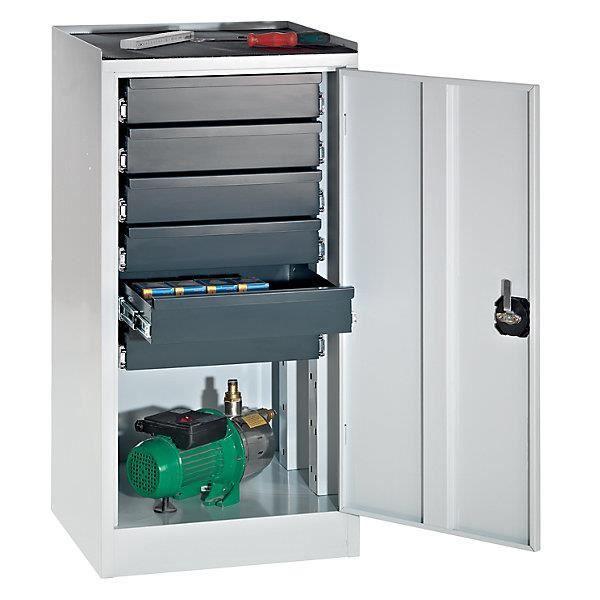 Quipo armoire de service outils 6 tiroirs porte gris for Porte metallique de service
