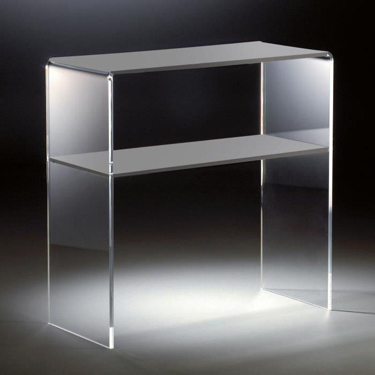 console en acrylique haute qualit 2 compartiments transparent gris clair 70 x 30 cm h 70. Black Bedroom Furniture Sets. Home Design Ideas