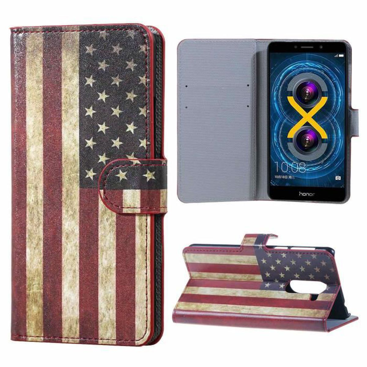 Housse etui folio portefeuille huawei honor 6x housse pu for Housse honor 6x
