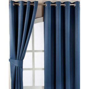 maison r double rideaux bleu marine
