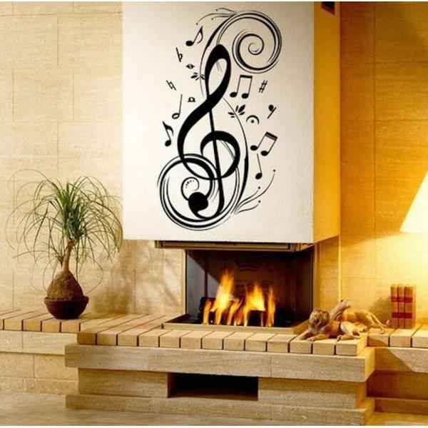 Sticker mural cl de sol et notes de musique achat for Decoration murale note de musique