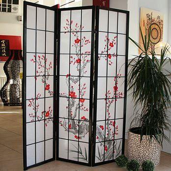 paravent cerisier en fleur noir 3 pans achat vente paravent pin cdiscount. Black Bedroom Furniture Sets. Home Design Ideas