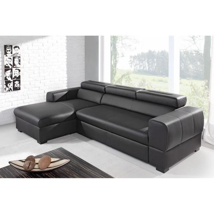 canap d 39 angle convertible droit pu noir maria achat. Black Bedroom Furniture Sets. Home Design Ideas