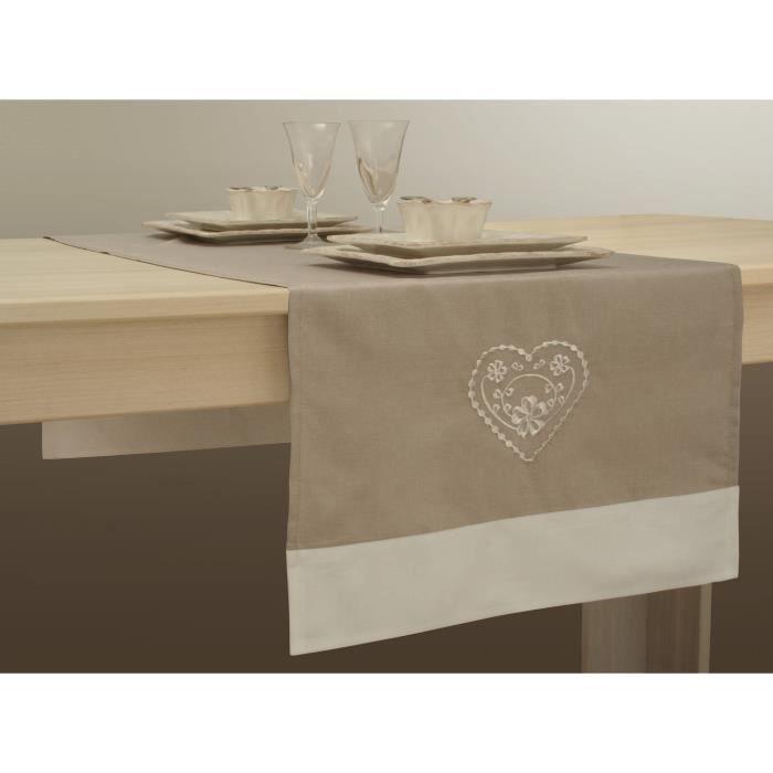 Chemin de table 50x140 cm anti taches ficelle avec - Chemin de table beige ...