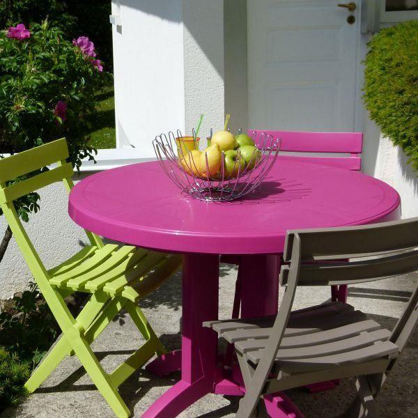 Table ronde de jardin vega grosfillex rose fushia achat vente table de jardin table ronde - Table jardin rose toulon ...
