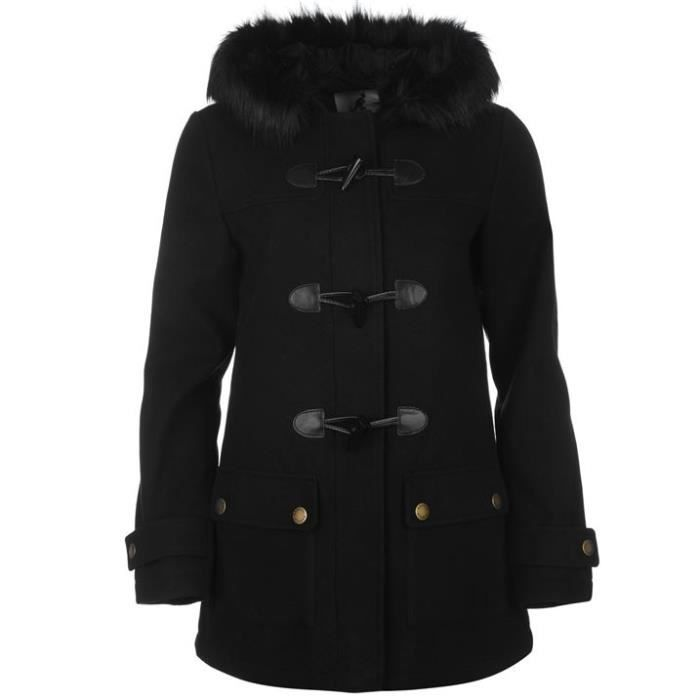 nouveau duffle coat a fourrure kangol femme collection 2017 noir noir noir achat vente. Black Bedroom Furniture Sets. Home Design Ideas