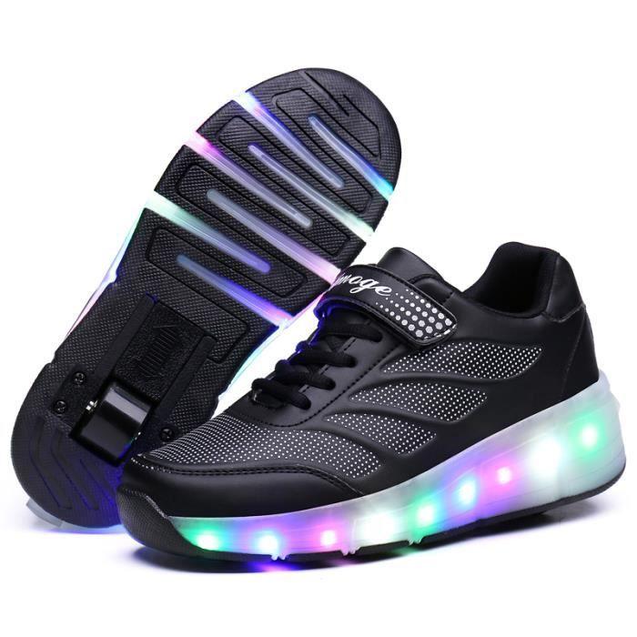 baskets lumineuse chaussures led heelys pour enfants roulettes avec roues noir achat vente. Black Bedroom Furniture Sets. Home Design Ideas