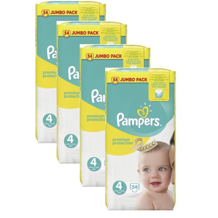 pampers premium protection baby taille 4 maxi 8 16kg jumbopack 216 couches achat vente. Black Bedroom Furniture Sets. Home Design Ideas