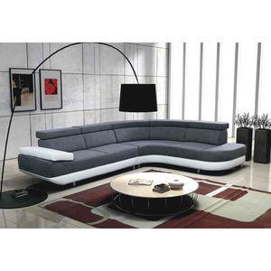 Canapé d'angle droit design Zeta - gris et blanc