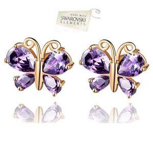 Boucle d'oreille Boucles d'oreille Puces Papillon Cristal Swarovski