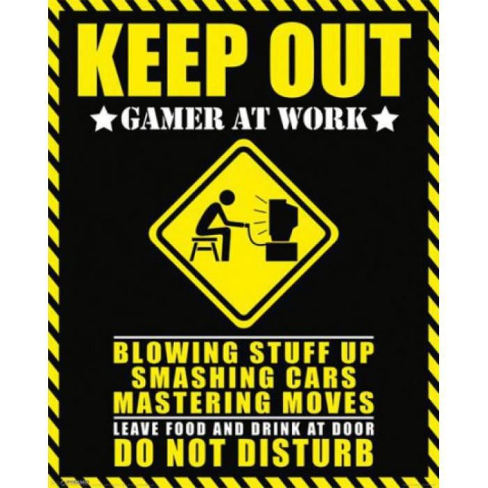 Gaming mini poster keep out gamer at work 5 achat vente affiche cdiscount for Affiche deco pas cher