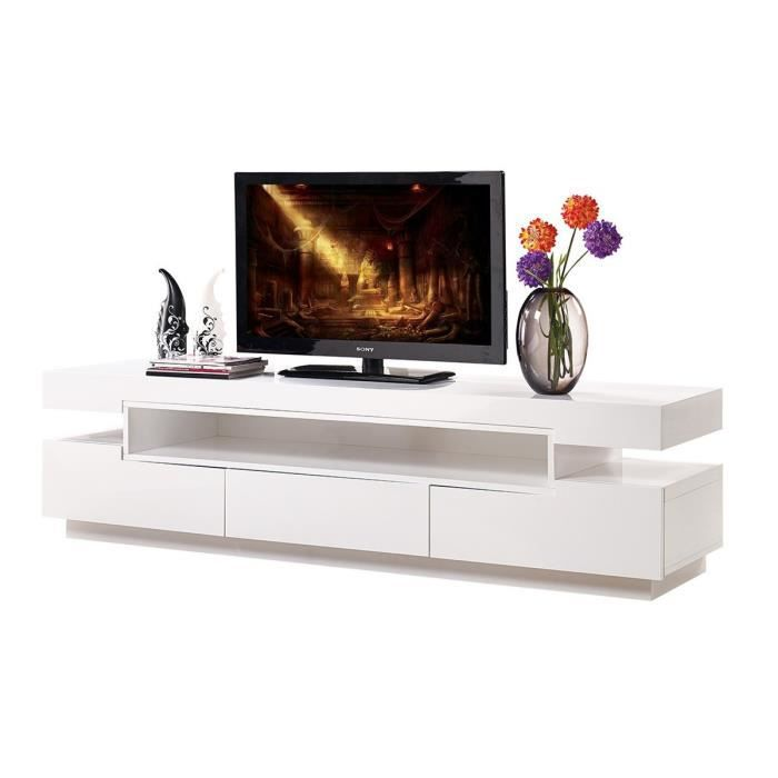 meuble tv design blanc laqué 3 tiroirs palace 200 cm - achat ... - Meuble Tv Design Blanc Laque Cavalli