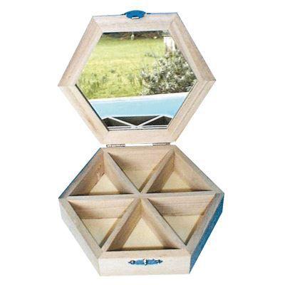 boite a bijoux hexagone en bois a decorer achat vente. Black Bedroom Furniture Sets. Home Design Ideas