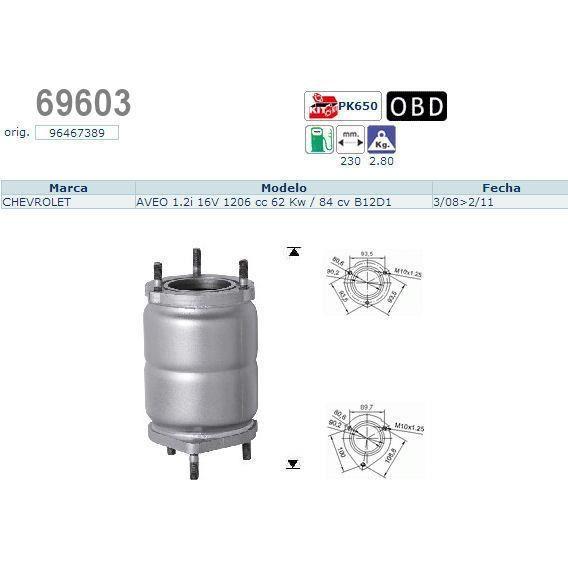 pot catalytique pour chevrolet aveo 16v 1206 achat vente pot catalytique pot. Black Bedroom Furniture Sets. Home Design Ideas