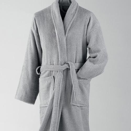 peignoir de bain ponge brod esprit zen gris achat. Black Bedroom Furniture Sets. Home Design Ideas