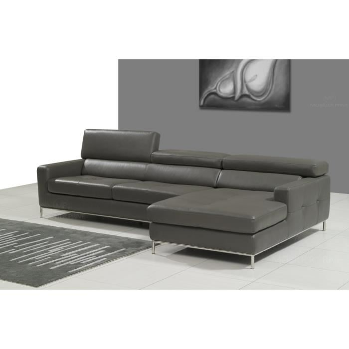 Canap d 39 angle en cuir italien 4 5 places yvana achat for Grand canape 5 places