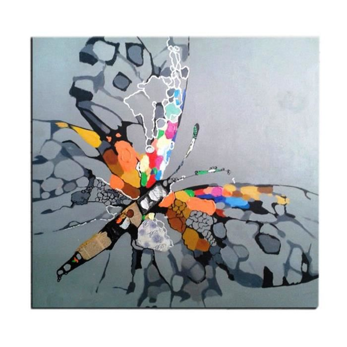 tableau papillon multicolore sur fond gris peinture l 39 huile sur toile fait main art. Black Bedroom Furniture Sets. Home Design Ideas