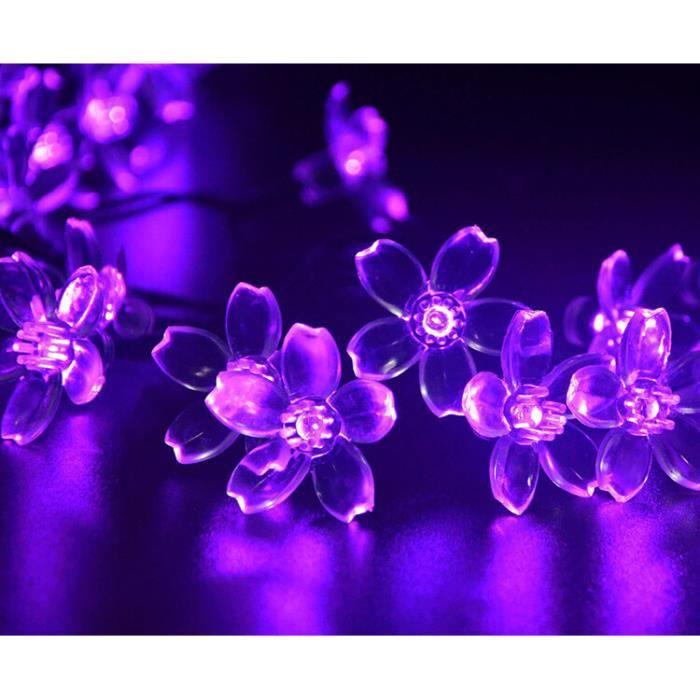 7m 50leds violet sakura fleur lampe solaire guirlande led lumi res solaire f e lumi re garden for Lampe solaire jardin brico