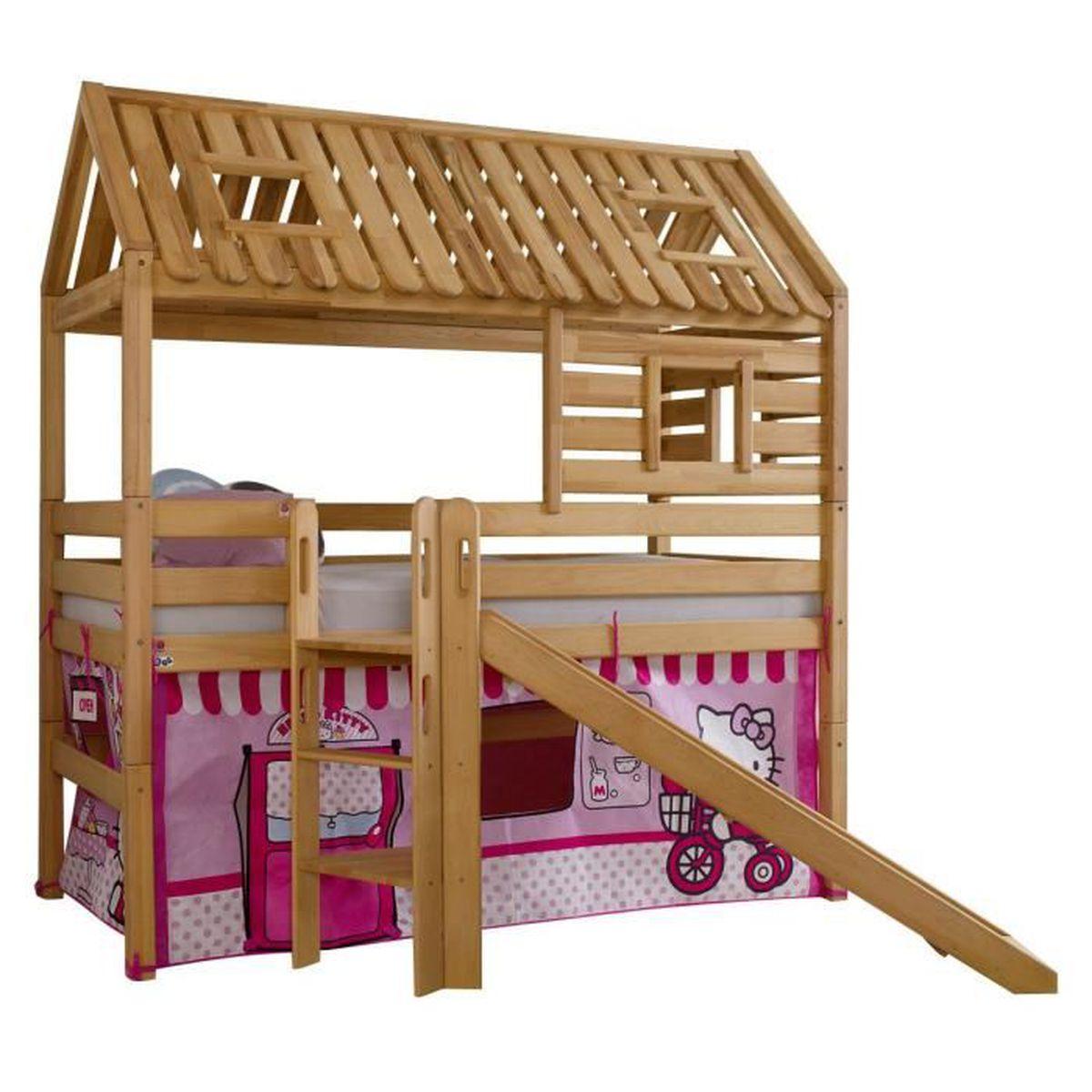 lit sur lev 90x200 cm avec cabane et toboggan r versible en h tre et textile design hello kitty. Black Bedroom Furniture Sets. Home Design Ideas