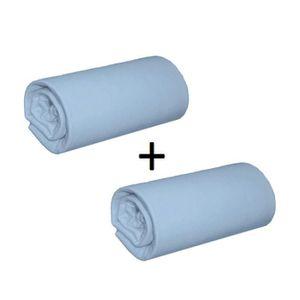 DRAP HOUSSE Pack 2 Draps Housses Jersey Bleu Nuage Bonnet 28 c